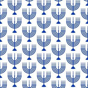 Menorahs - Hanukkah  - blue on white