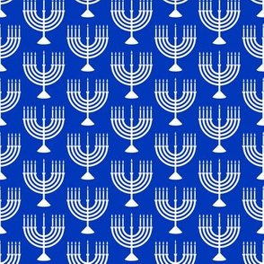 Menorahs - Hanukkah  - white on blue