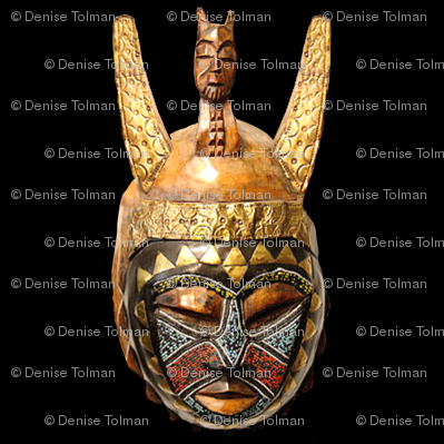 African Mask Gold Brown on Black