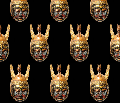 African Mask Gold Brown on Black fabric by fabric_is_my_name on Spoonflower - custom fabric