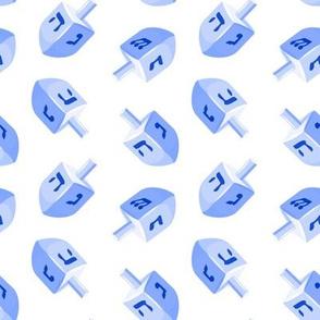 dreidels - blue on white