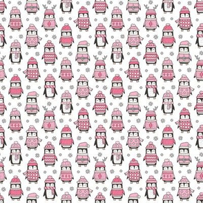 Christmas Holiday Winter Penguins in Ugly Sweaters Scarves & Hats Pink On White Tiny Small 1 inch