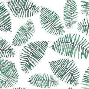 palm leaves random repeat on white soft