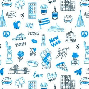New York blue doodle pattern