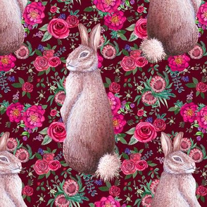 watercolor Rabbit and burgundy floral