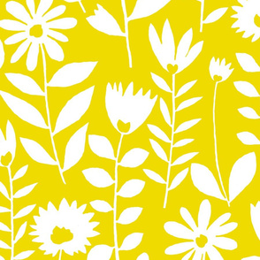 cutout flower (white on mustard)