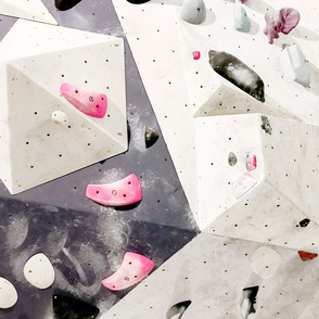 Free climbing bouldering gym holds chalk wall white purple pink FAT QUARTER