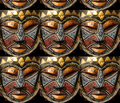 African Mask Gold Triangles Full fabric by fabric_is_my_name on Spoonflower - custom fabric