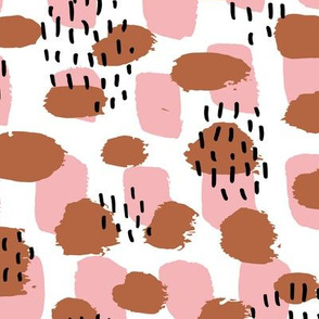 Cool LA style paint and brush strokes abstract trend fabric minimal scandinavian texture in fall copper pink