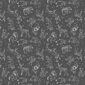 MINI constellations // night time stars sky charcoal grey kids nursery baby print