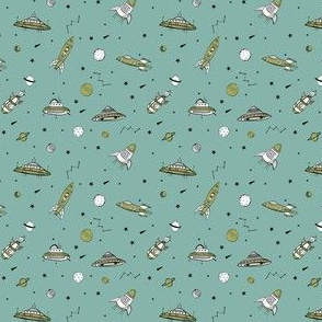 MINI - spaceships ufo fabric outer space quilt coordinates opal