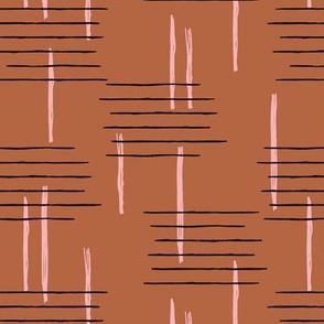 Retro mid-century Scandinavian minimal design abstract strokes retro pink copper brown autumn