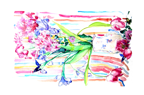 retro floral teatowel fabric by marigoldpink on Spoonflower - custom fabric