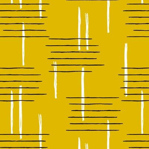 Retro mid-century Scandinavian minimal design abstract strokes retro autumn mustard ochre yellow