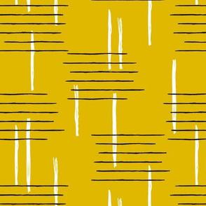 Retro mid-century Scandinavian minimal design abstract strokes retro autumn mustard ochre yellow