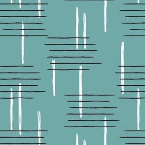 Retro mid-century Scandinavian minimal design abstract strokes retro winter ice blue