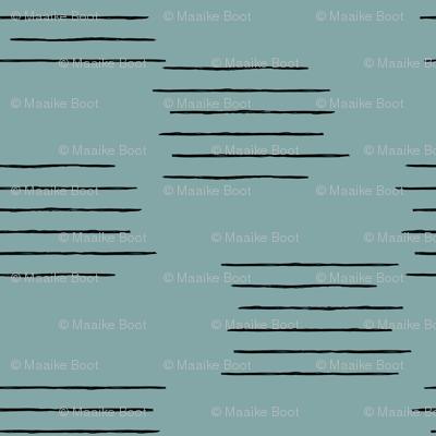Abstract grid strokes horizontal lines minimal Scandinavian mid-century design blue winter
