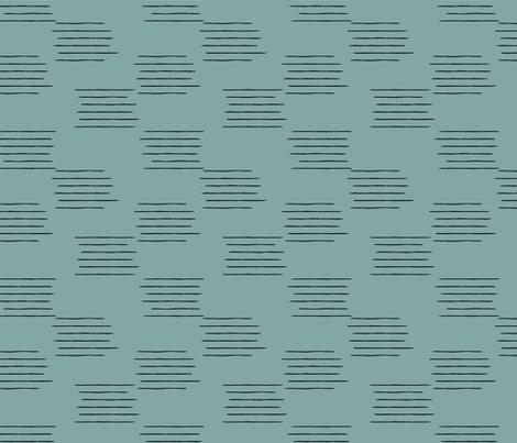 Abstract grid strokes horizontal lines minimal Scandinavian mid-century design blue winter fabric by littlesmilemakers on Spoonflower - custom fabric