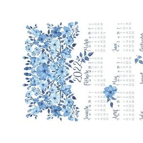 2022 Blue Roses Tea Towel Calendar