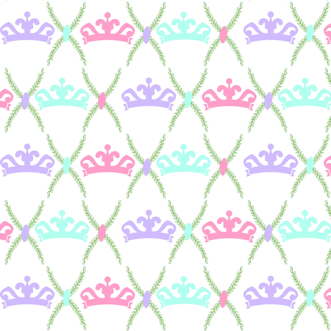 tiara row SMALL 587-orchid pink mint fabric by drapestudio on Spoonflower - custom fabric