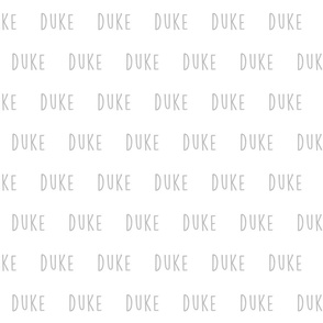 duke // gray custom lettering
