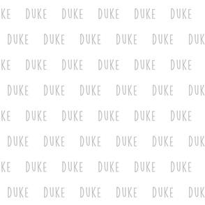 duke // gray custom lettering