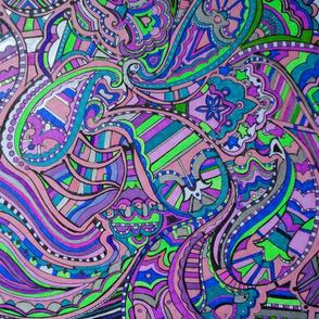 Extreme doodle paisley purples