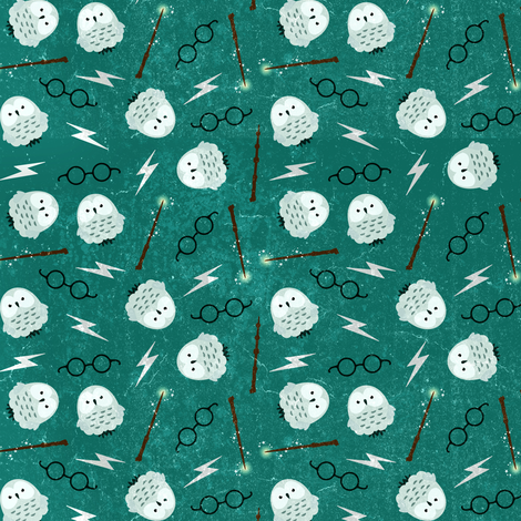 Magic Owls and Wands on Blue fabric by dorkydoodles on Spoonflower - custom fabric