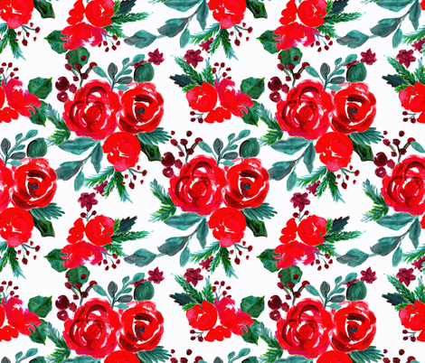 merry and bright holiday floral fabric by crystal_walen on Spoonflower - custom fabric
