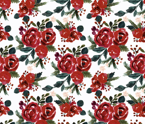 vintage holiday floral fabric by crystal_walen on Spoonflower - custom fabric