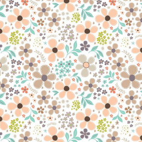 Stitched Floral in Peach and Blue