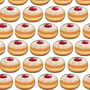 Sufganiyot (Jelly Doughnuts) on white