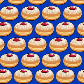 Sufganiyot (Jelly Doughnuts) on blue