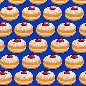 Sufganiyot (Jelly Doughnuts) on blue