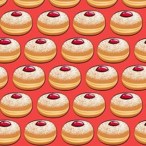 Sufganiyot (Jelly Doughnuts) on red