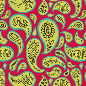 new paisley pattern RED celery brown turq-01