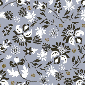 victorian floral | slate gray