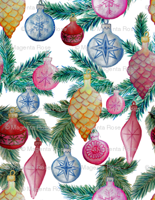 Holiday ornaments // christmas baubles on white