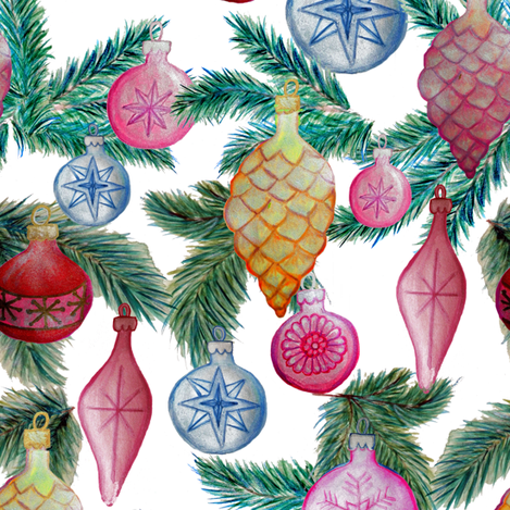 Holiday ornaments // christmas baubles on white fabric by magentarosedesigns on Spoonflower - custom fabric