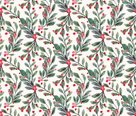 mistletoe and red berries fabric by crystal_walen on Spoonflower - custom fabric