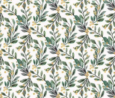 mistletoe sage and gold berries fabric by crystal_walen on Spoonflower - custom fabric