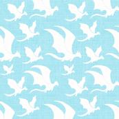 Smaller Textured White Dragons -Turquoise-