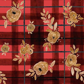 gold rose holiday tartan