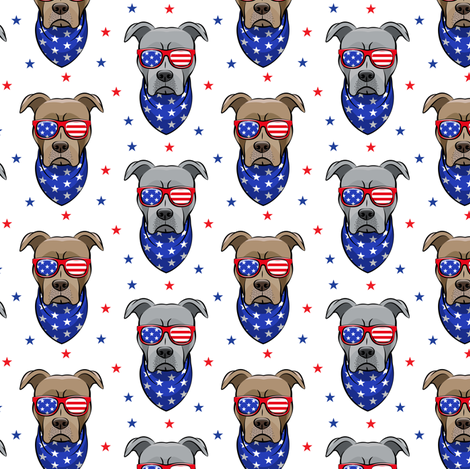 (small scale) patriotic Pit Bull white with stars  (red and blue) fabric by littlearrowdesign on Spoonflower - custom fabric