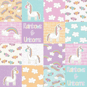 Rainbows and Unicorns Wholecloth cheater quilt, Baby quilt,  crib sheet, baby blanket, baby nursery, cute nursery design 6 inch squares