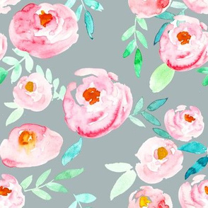 Hot Pink on Cool Gray Soft Watercolor Florals