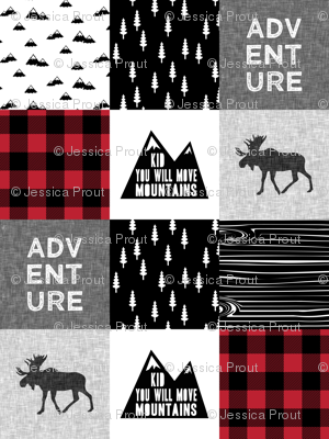 ADVENTURE & You Will Move Mountains Quilt Top - buffalo plaid C18BS