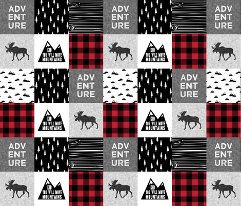ADVENTURE & You Will Move Mountains Quilt Top - buffalo plaid C18BS fabric by littlearrowdesign on Spoonflower - custom fabric