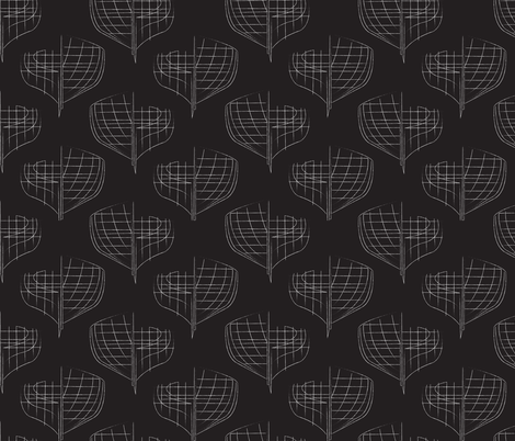 Skiff Blueprint Black  fabric by krista_power on Spoonflower - custom fabric