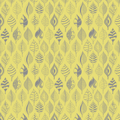 Geometric leaves grey on yellow